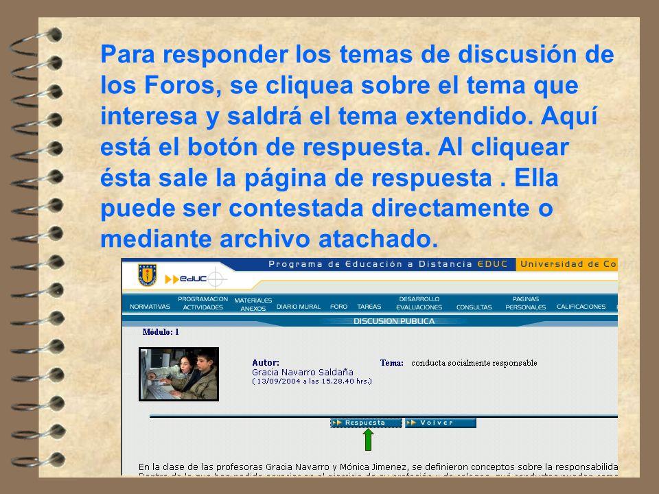 Para responder los temas de discusión de los Foros, se cliquea sobre el tema que interesa y saldrá el tema extendido.