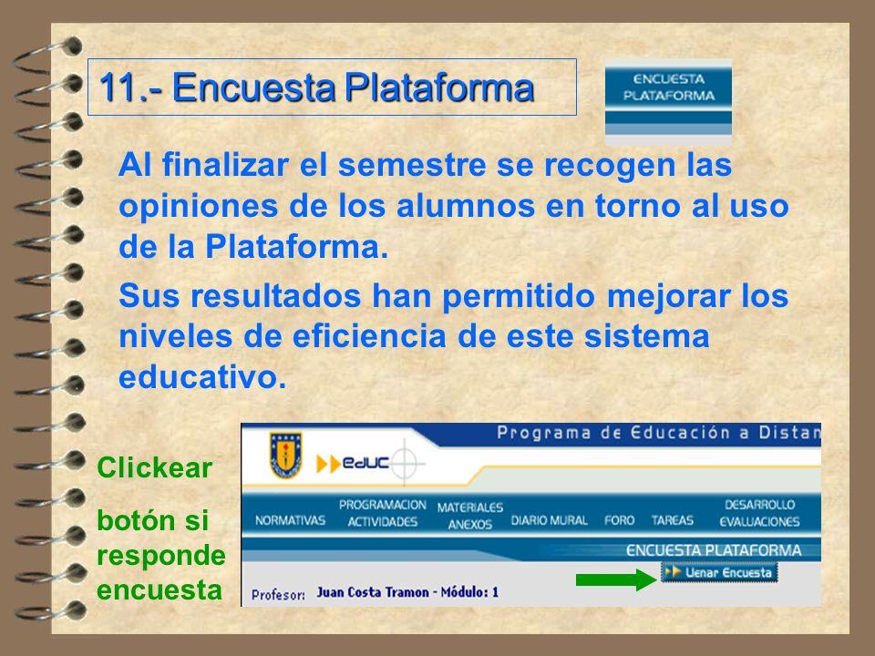 11.- Encuesta Plataforma Al finalizar el semestre se recogen las opiniones de los alumnos en torno al uso de la Plataforma.