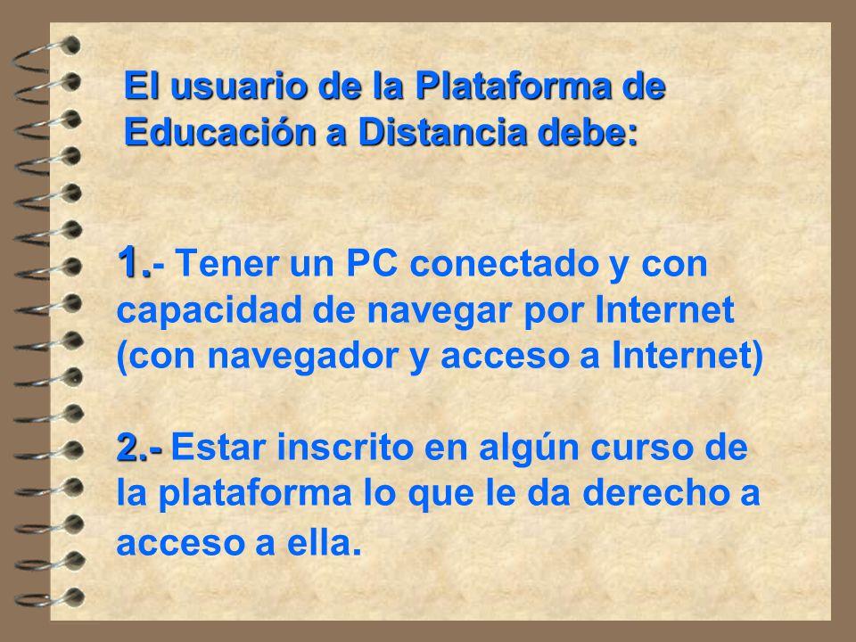 El usuario de la Plataforma de Educación a Distancia debe:
