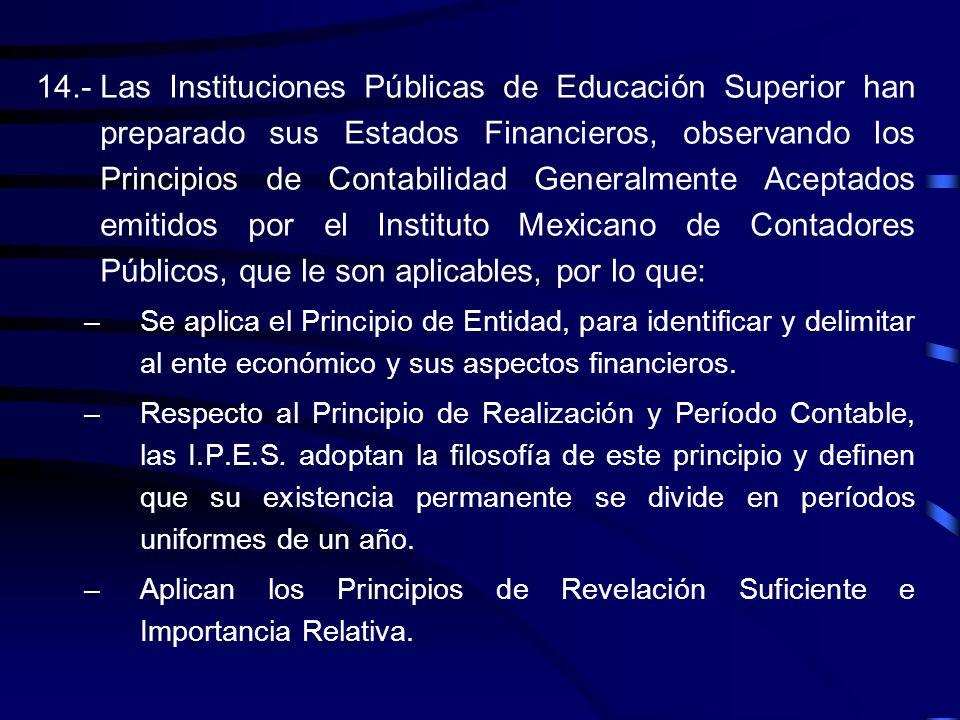 14.- Las Instituciones Públicas de Educación Superior han preparado sus Estados Financieros, observando los Principios de Contabilidad Generalmente Aceptados emitidos por el Instituto Mexicano de Contadores Públicos, que le son aplicables, por lo que: