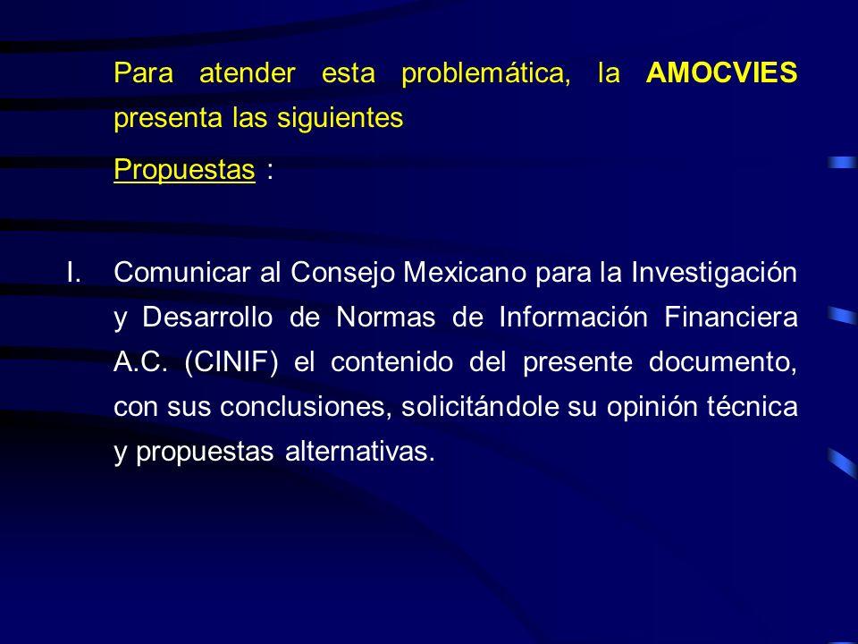 Para atender esta problemática, la AMOCVIES presenta las siguientes