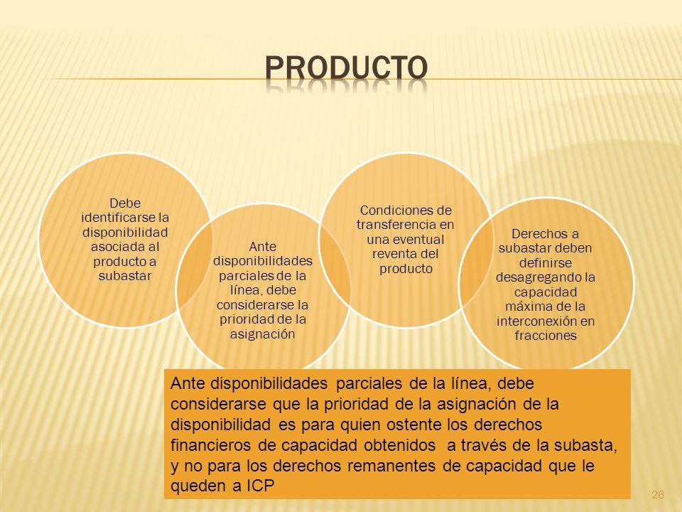 producto Debe identificarse la disponibilidad asociada al producto a subastar.