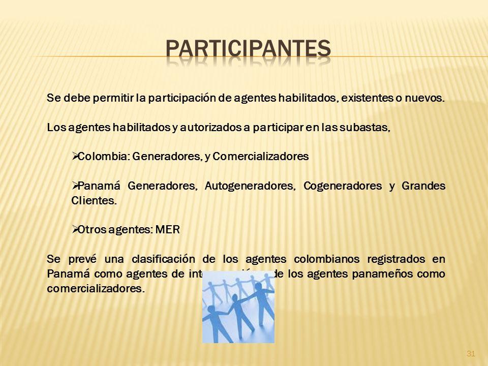 Participantes Se debe permitir la participación de agentes habilitados, existentes o nuevos.