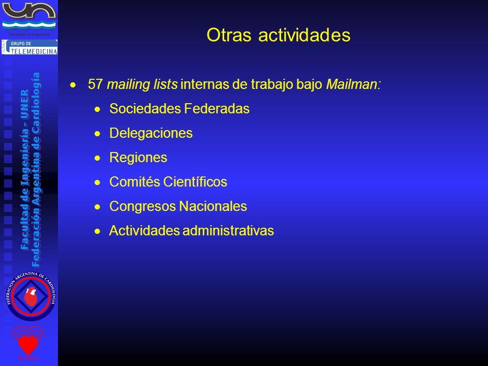 Otras actividades 57 mailing lists internas de trabajo bajo Mailman: