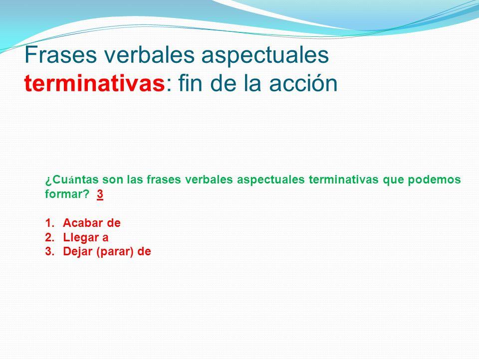 Frases verbales aspectuales terminativas: fin de la acción