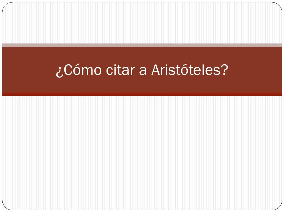¿Cómo citar a Aristóteles