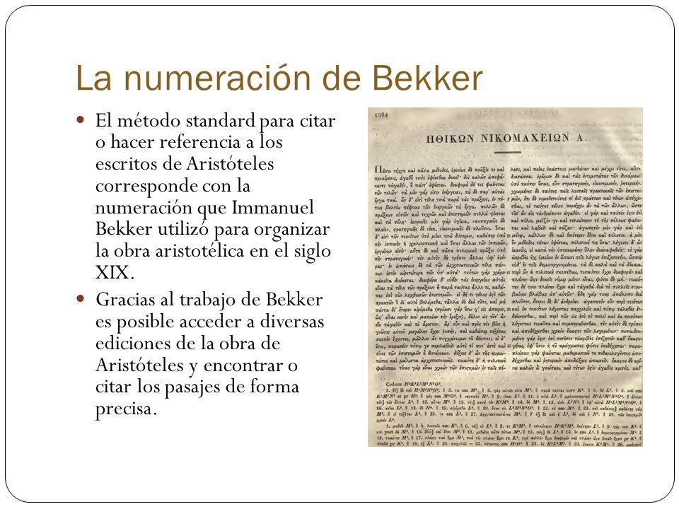 La numeración de Bekker