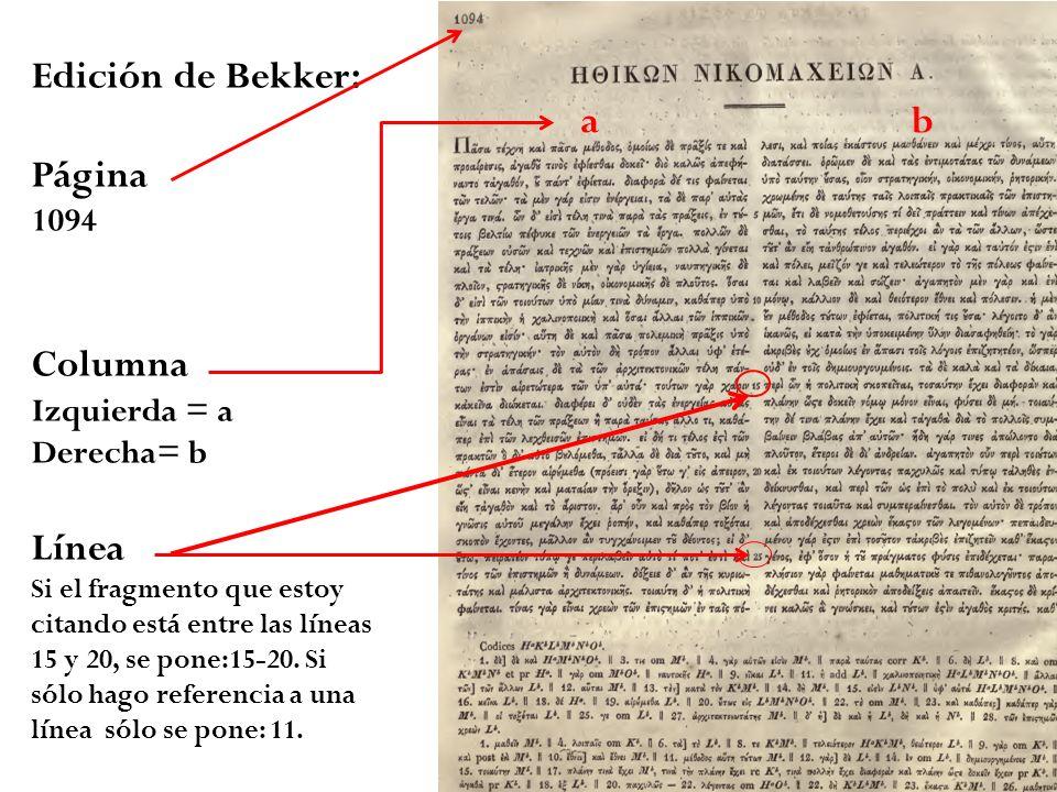 Edición de Bekker: a b Página Columna Línea 1094 Izquierda = a