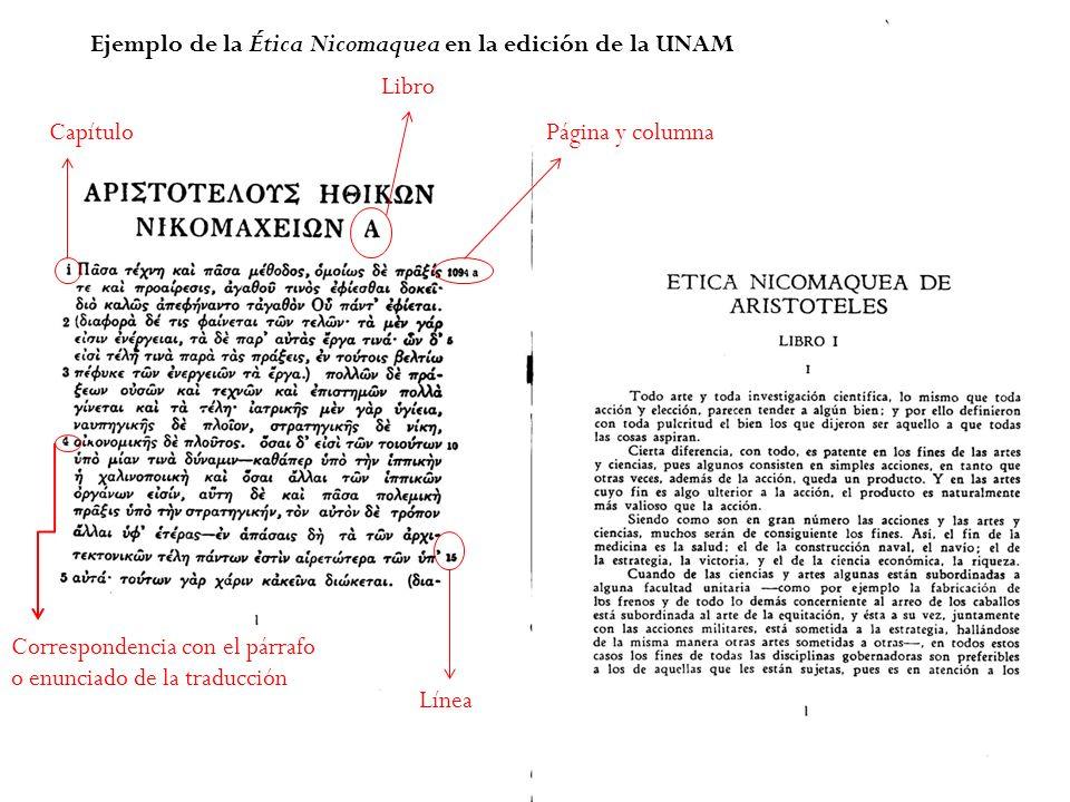 Ejemplo de la Ética Nicomaquea en la edición de la UNAM