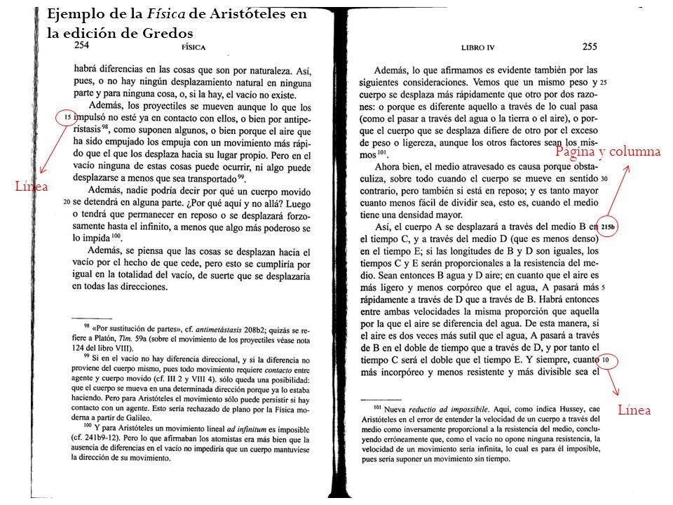 Ejemplo de la Física de Aristóteles en la edición de Gredos