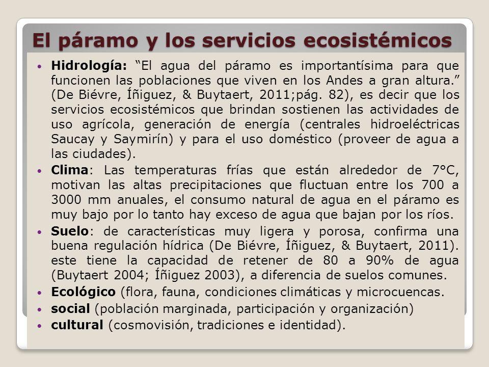 El páramo y los servicios ecosistémicos