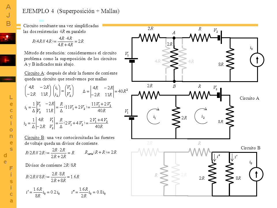 EJEMPLO 4 (Superposición + Mallas)