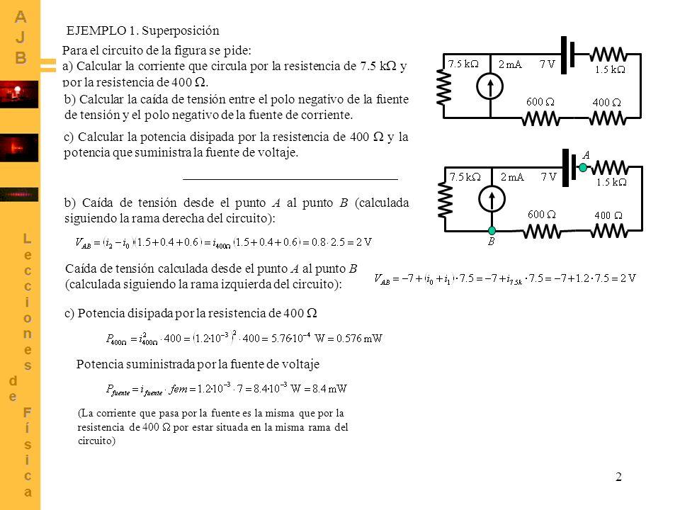 EJEMPLO 1. Superposición Para el circuito de la figura se pide: