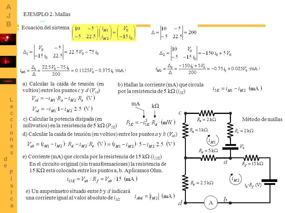 EJEMPLO 2. Mallas Ecuación del sistema. a) Calcular la caída de tensión (en voltios) entre los puntos c y d (Vcd)