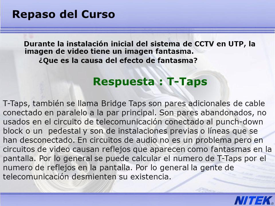 Repaso del Curso Durante la instalación inicial del sistema de CCTV en UTP, la imagen de video tiene un imagen fantasma.