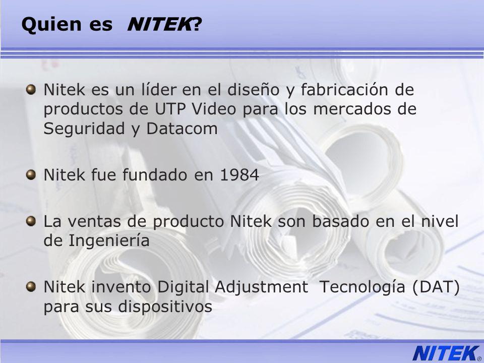 Quien es NITEK Nitek es un líder en el diseño y fabricación de productos de UTP Video para los mercados de Seguridad y Datacom.