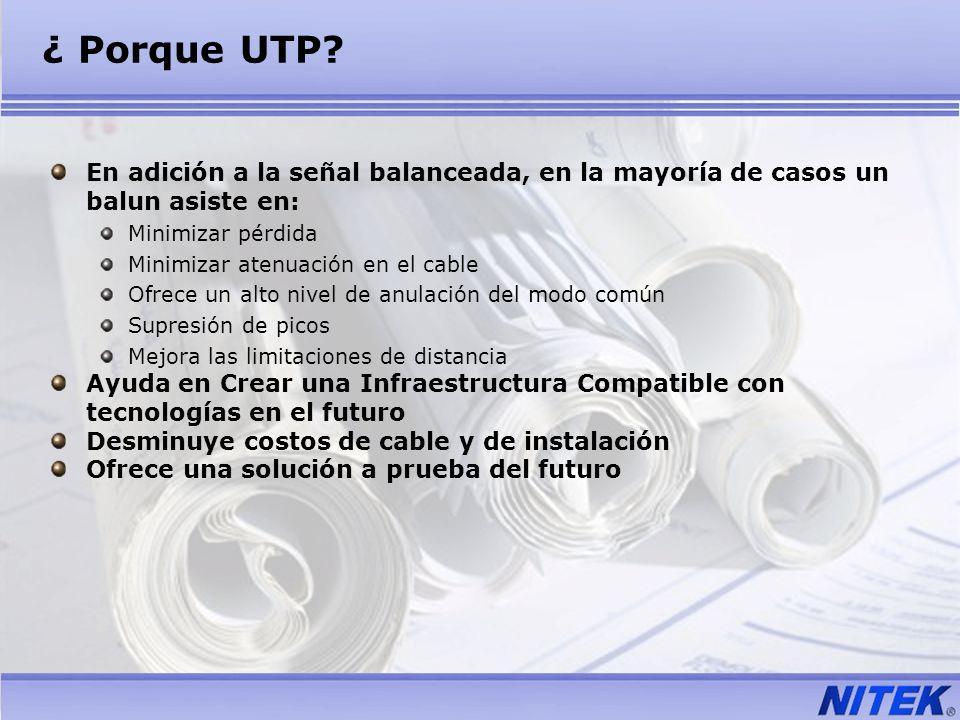 ¿ Porque UTP En adición a la señal balanceada, en la mayoría de casos un balun asiste en: Minimizar pérdida.