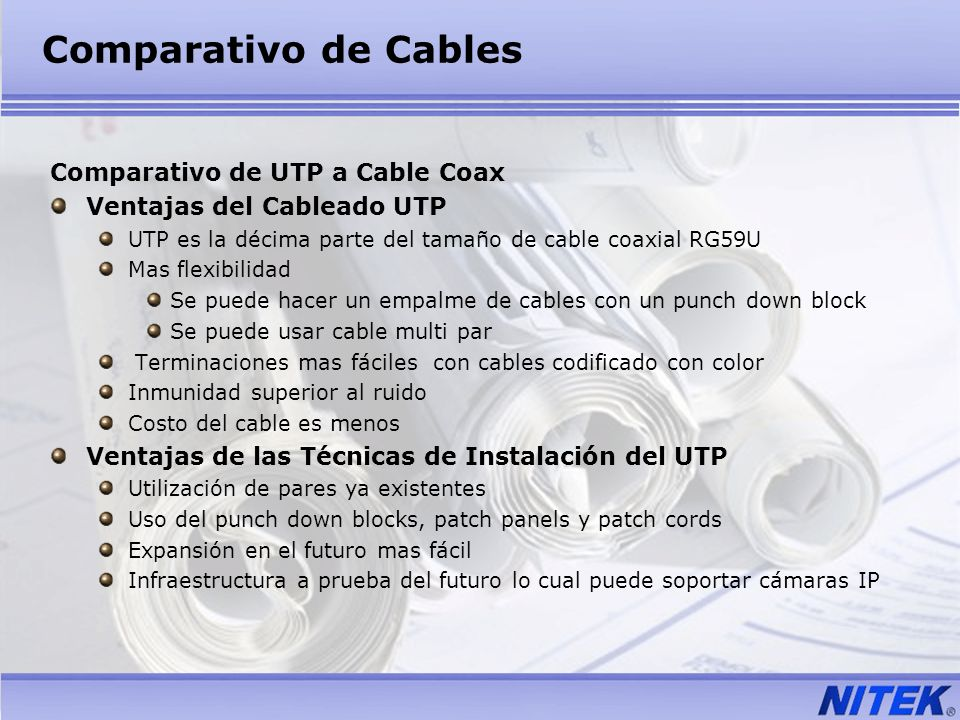 Comparativo de Cables Comparativo de UTP a Cable Coax
