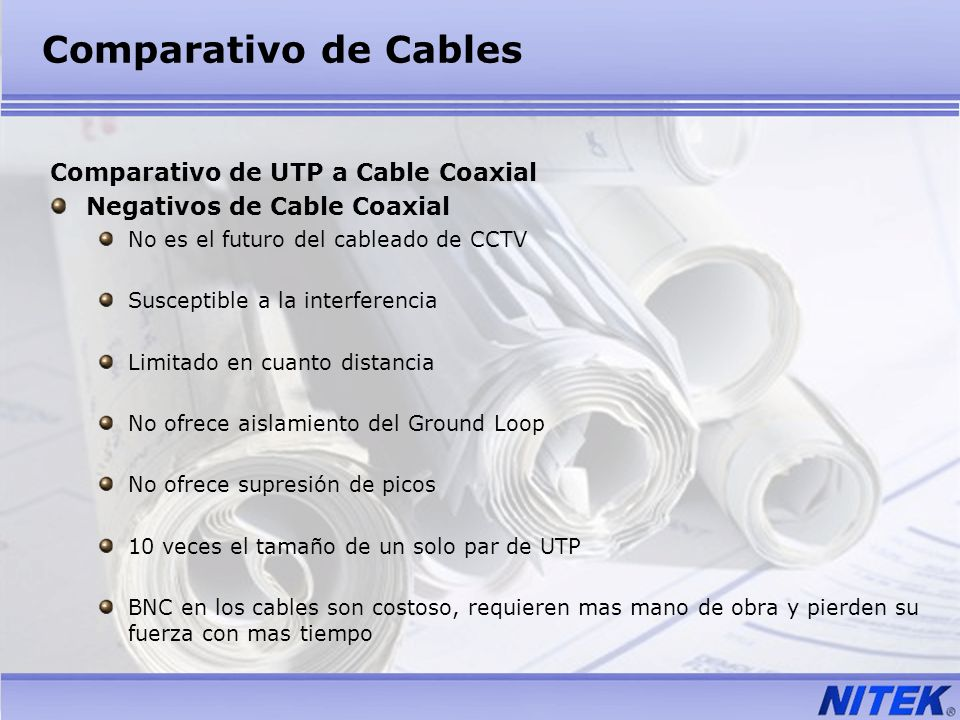 Comparativo de Cables Comparativo de UTP a Cable Coaxial