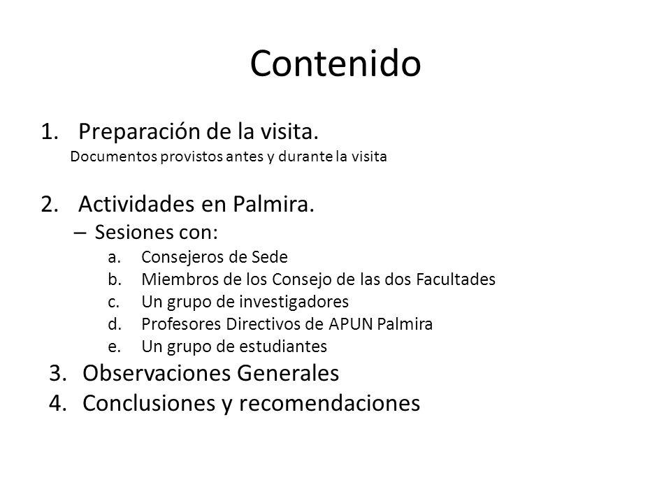 Contenido Preparación de la visita. Actividades en Palmira.