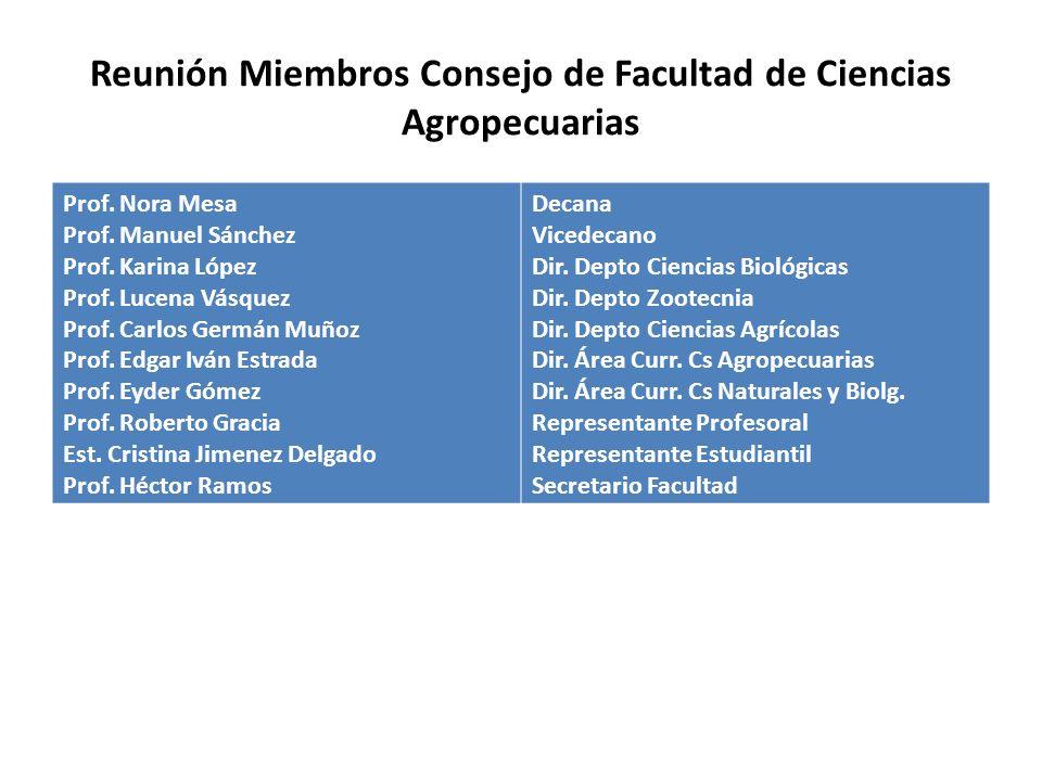 Reunión Miembros Consejo de Facultad de Ciencias Agropecuarias