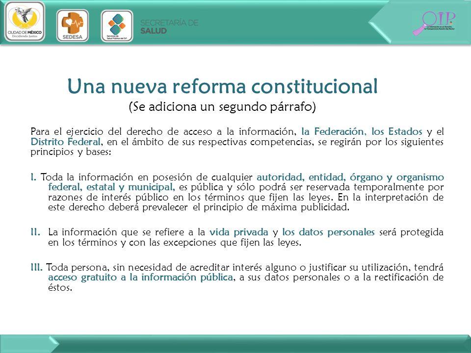 Una nueva reforma constitucional (Se adiciona un segundo párrafo)