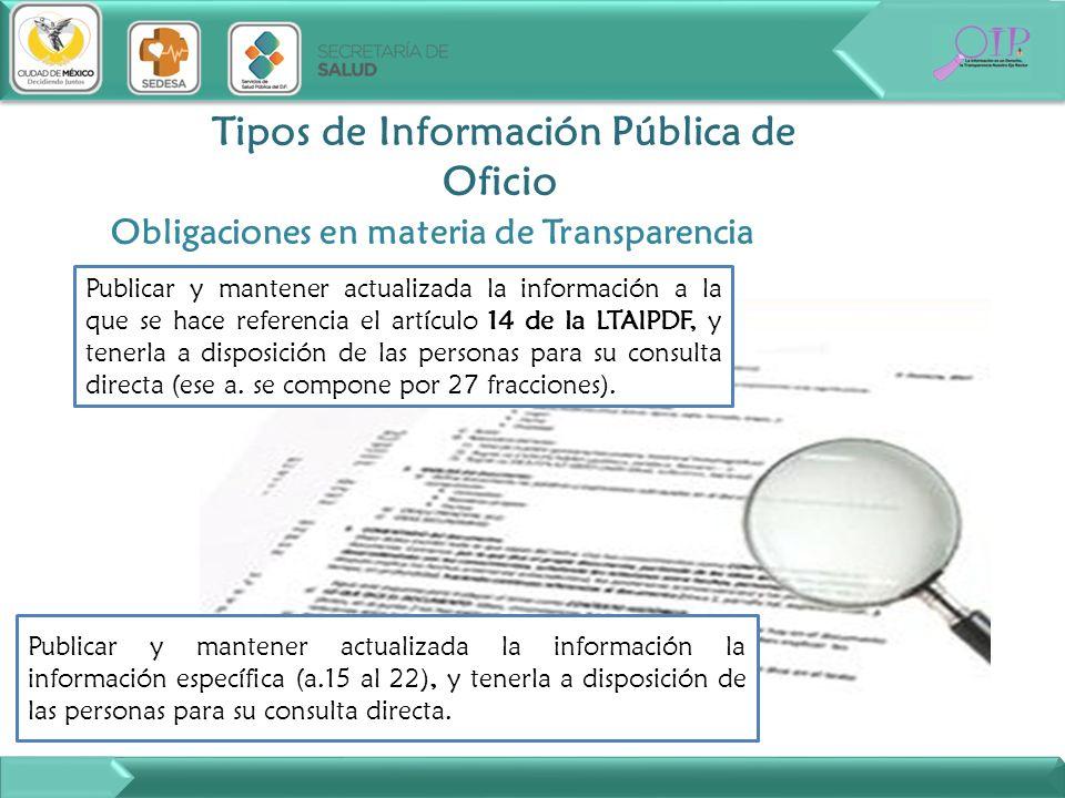 Tipos de Información Pública de Oficio