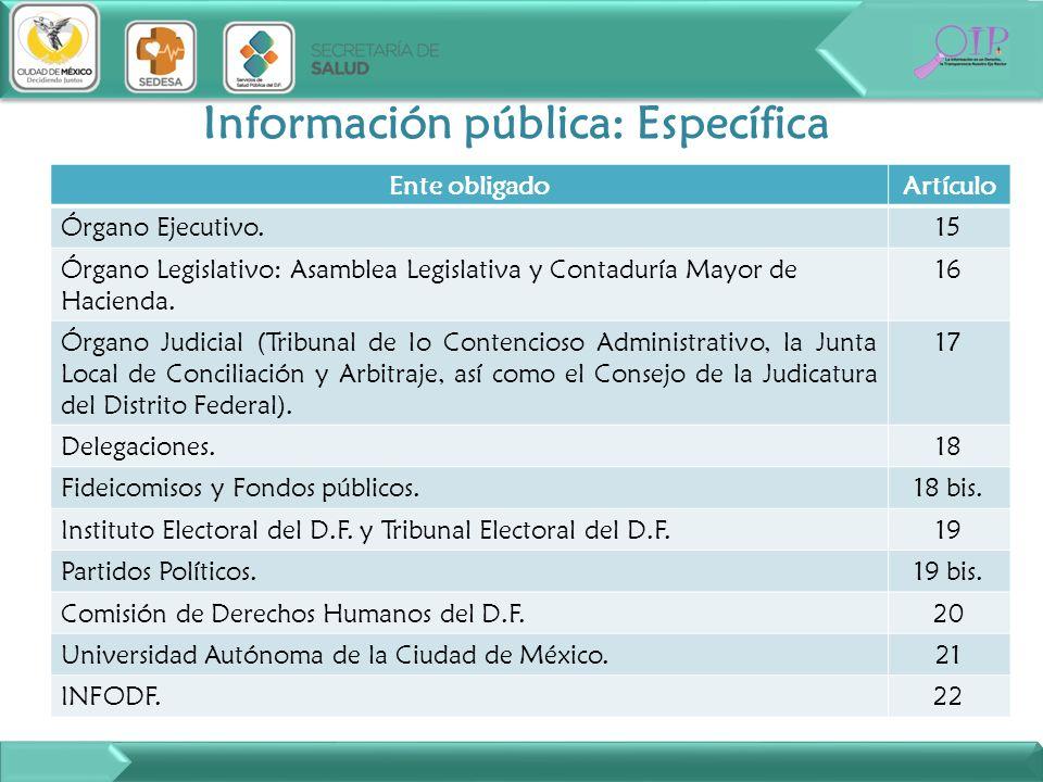 Información pública: Específica