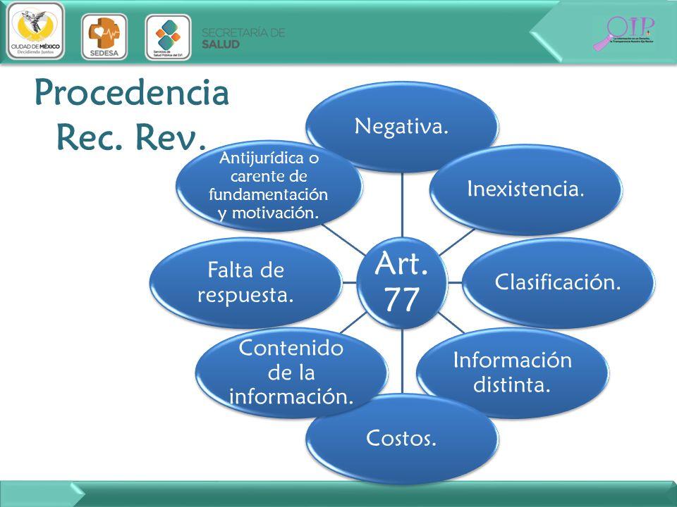 Procedencia Rec. Rev. Art. 77 Negativa. Inexistencia. Clasificación.