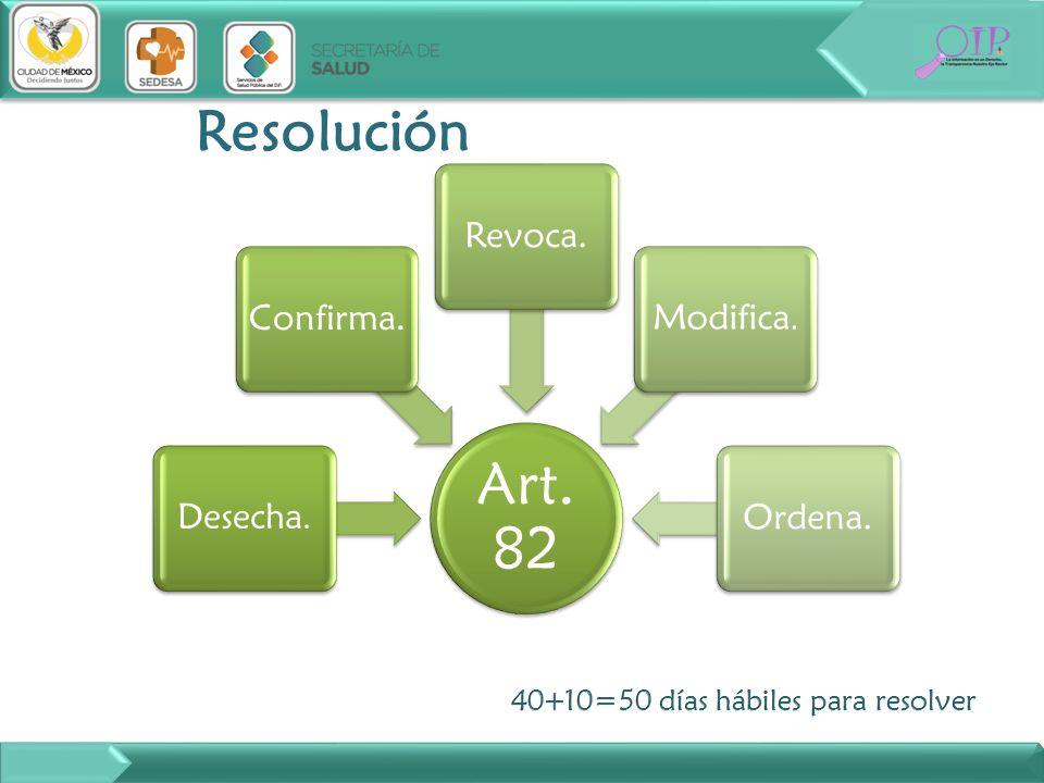 Resolución 40+10=50 días hábiles para resolver Art. 82 Desecha.