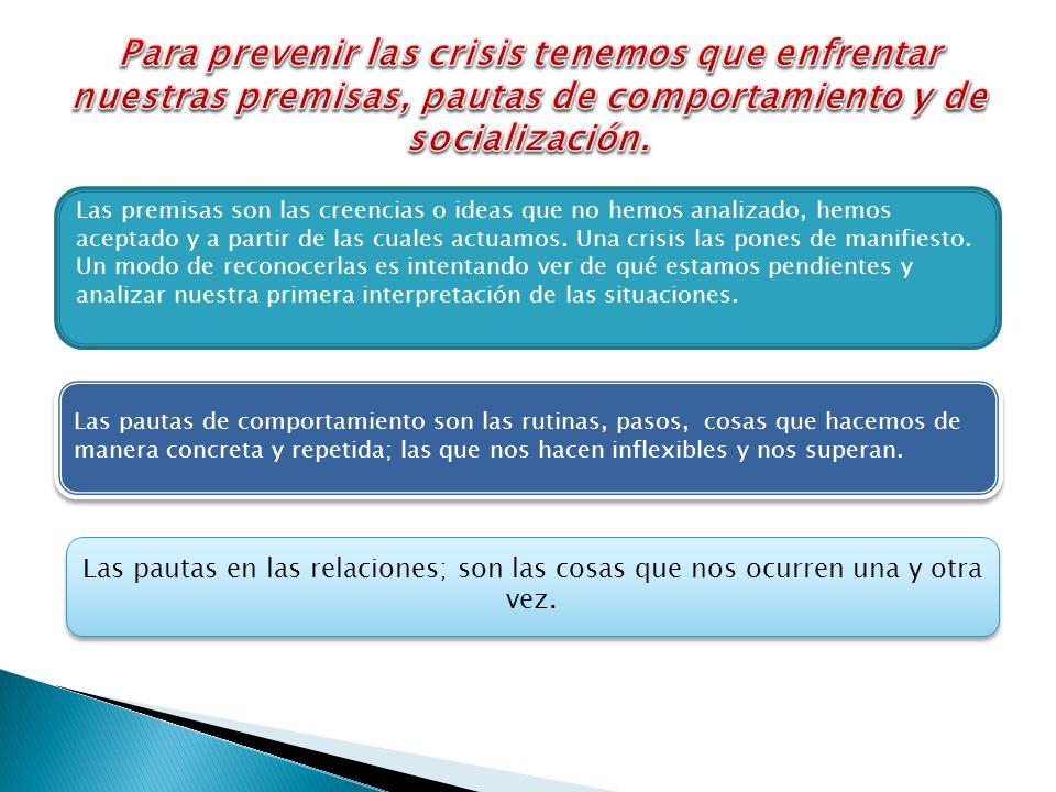 Para prevenir las crisis tenemos que enfrentar nuestras premisas, pautas de comportamiento y de socialización.