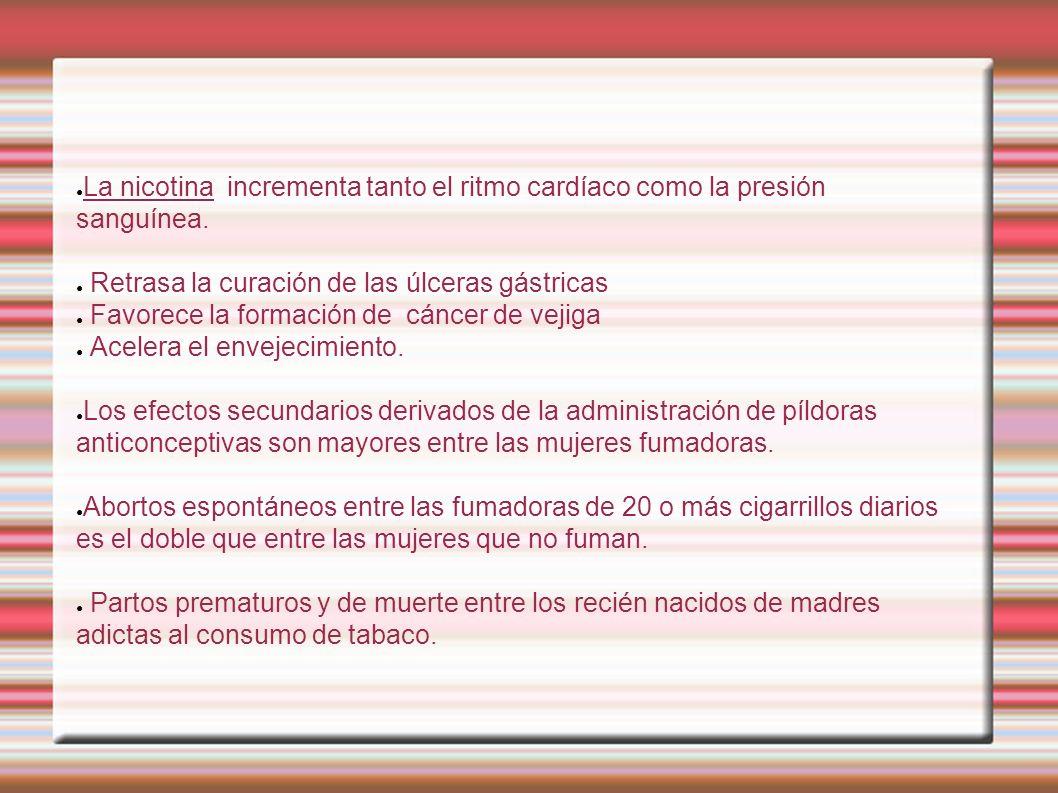 La nicotina incrementa tanto el ritmo cardíaco como la presión sanguínea.
