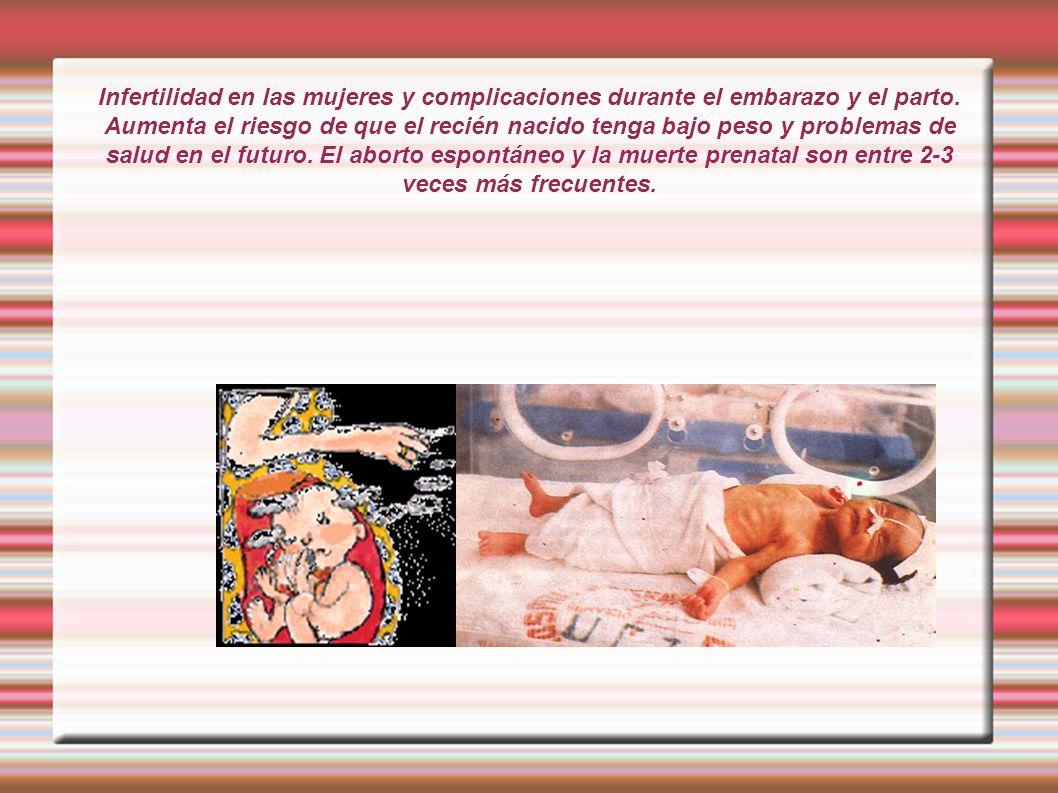 Infertilidad en las mujeres y complicaciones durante el embarazo y el parto.
