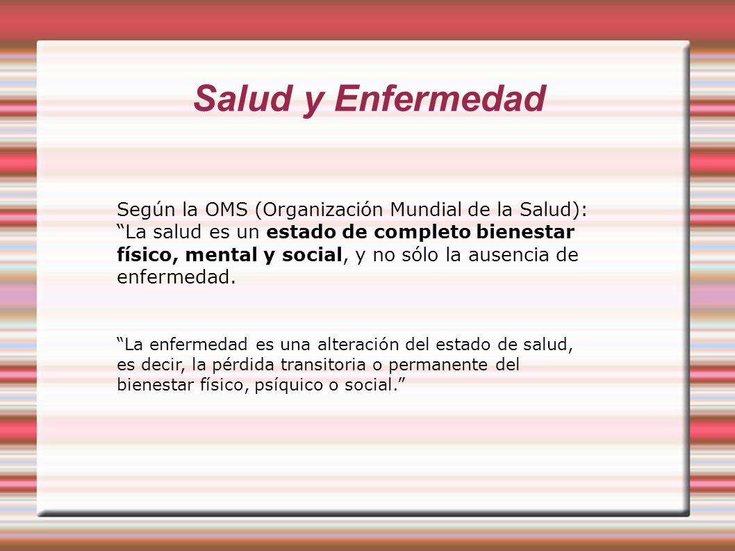Salud y Enfermedad Según la OMS (Organización Mundial de la Salud):