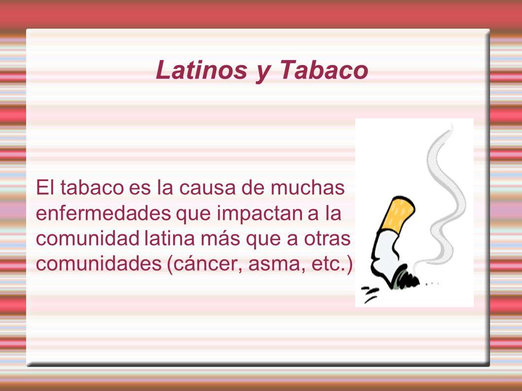 Latinos y Tabaco El tabaco es la causa de muchas