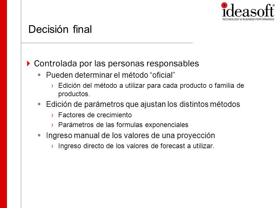 Decisión final Controlada por las personas responsables