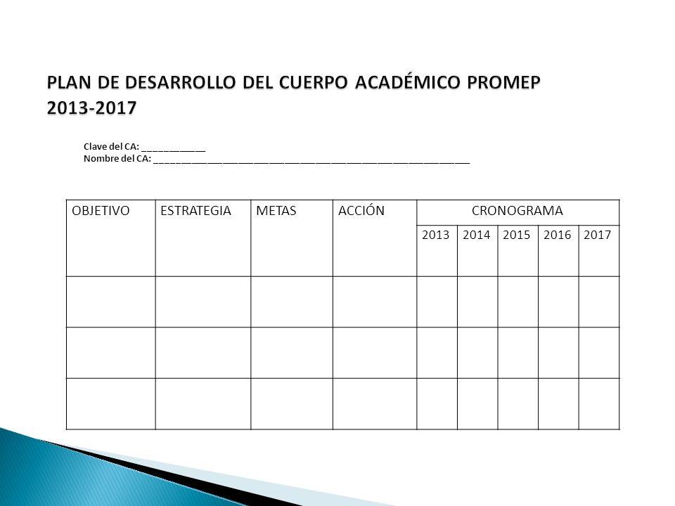 PLAN DE DESARROLLO DEL CUERPO ACADÉMICO PROMEP 2013-2017