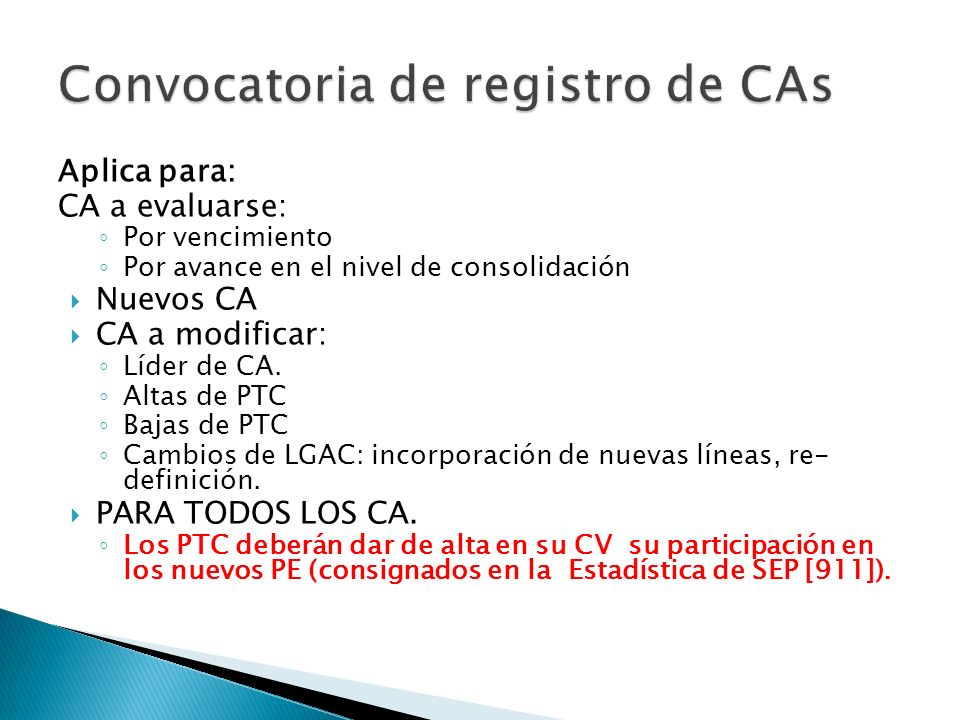 Convocatoria de registro de CAs