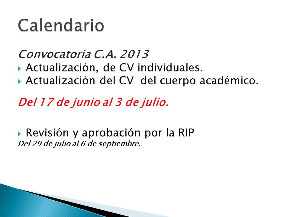 Calendario Convocatoria C.A. 2013 Actualización, de CV individuales.