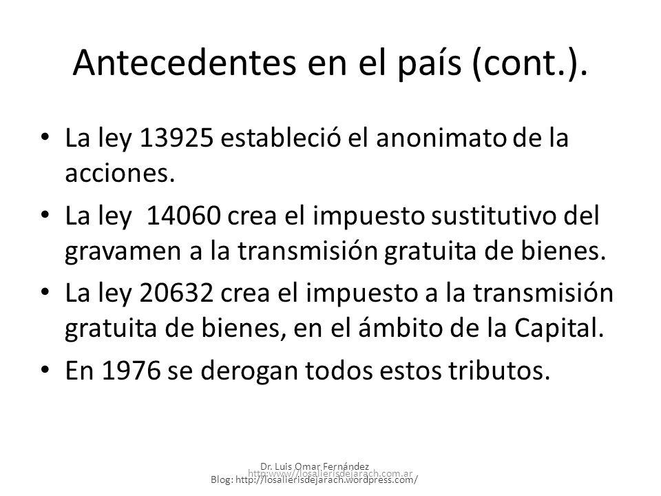 Antecedentes en el país (cont.).
