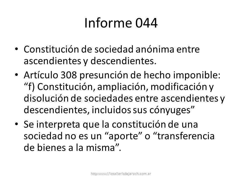Informe 044 Constitución de sociedad anónima entre ascendientes y descendientes.