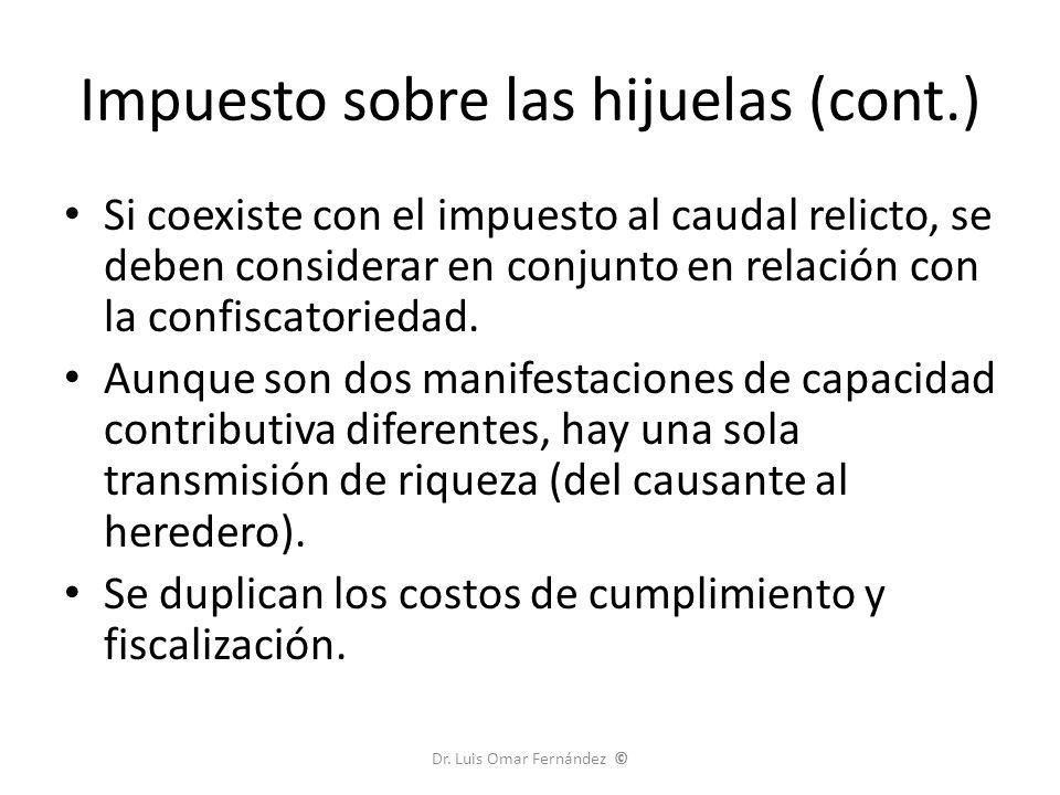 Impuesto sobre las hijuelas (cont.)