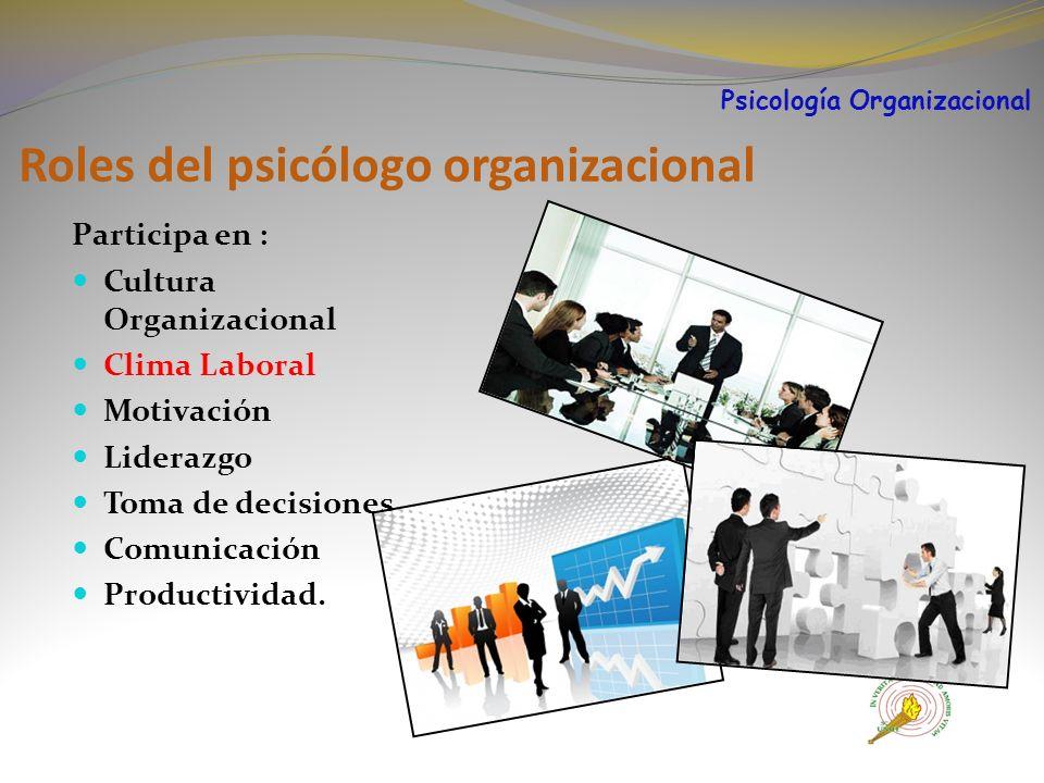 Roles del psicólogo organizacional