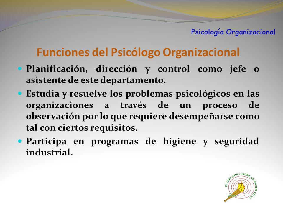 Funciones del Psicólogo Organizacional