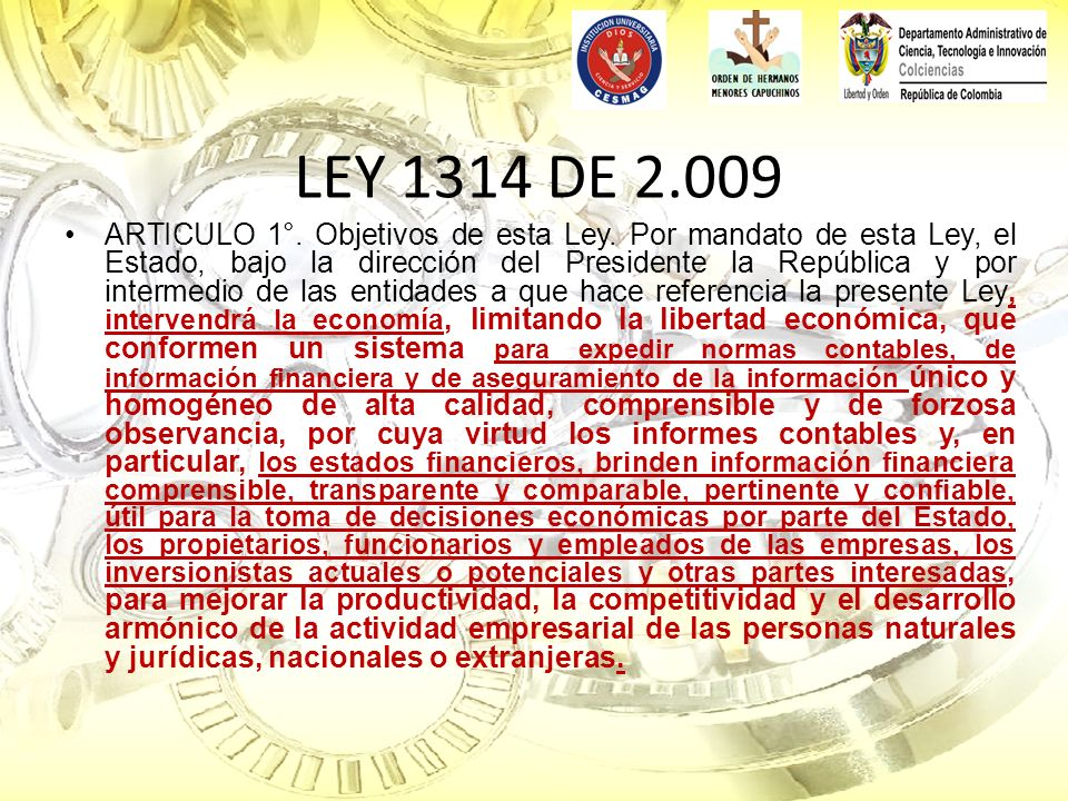 LEY 1314 DE 2.009
