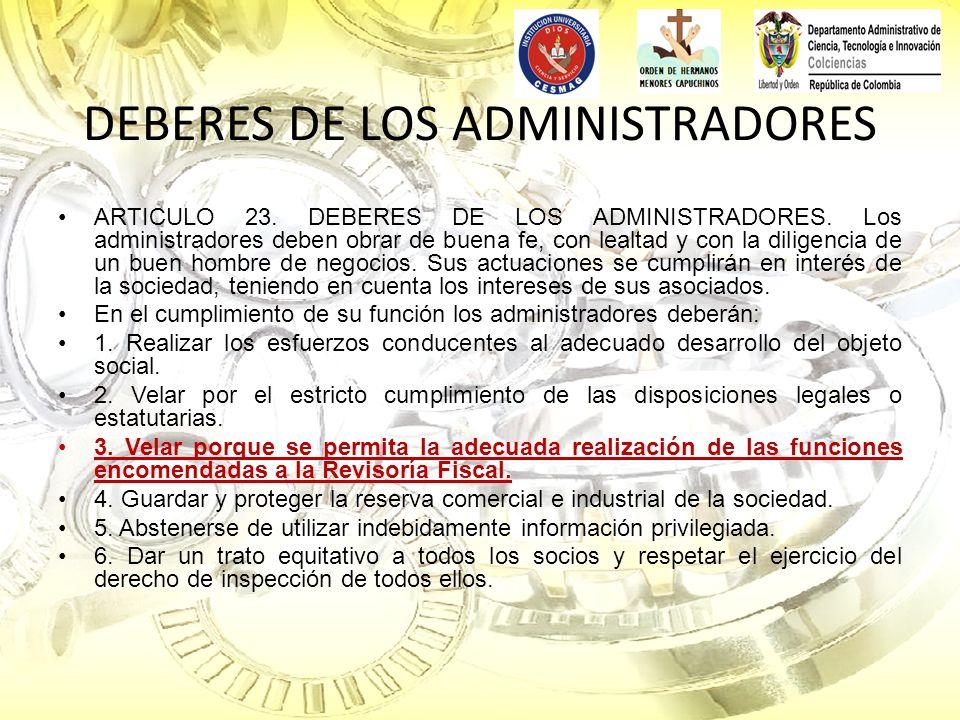 DEBERES DE LOS ADMINISTRADORES
