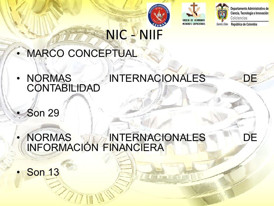NIC - NIIF MARCO CONCEPTUAL NORMAS INTERNACIONALES DE CONTABILIDAD