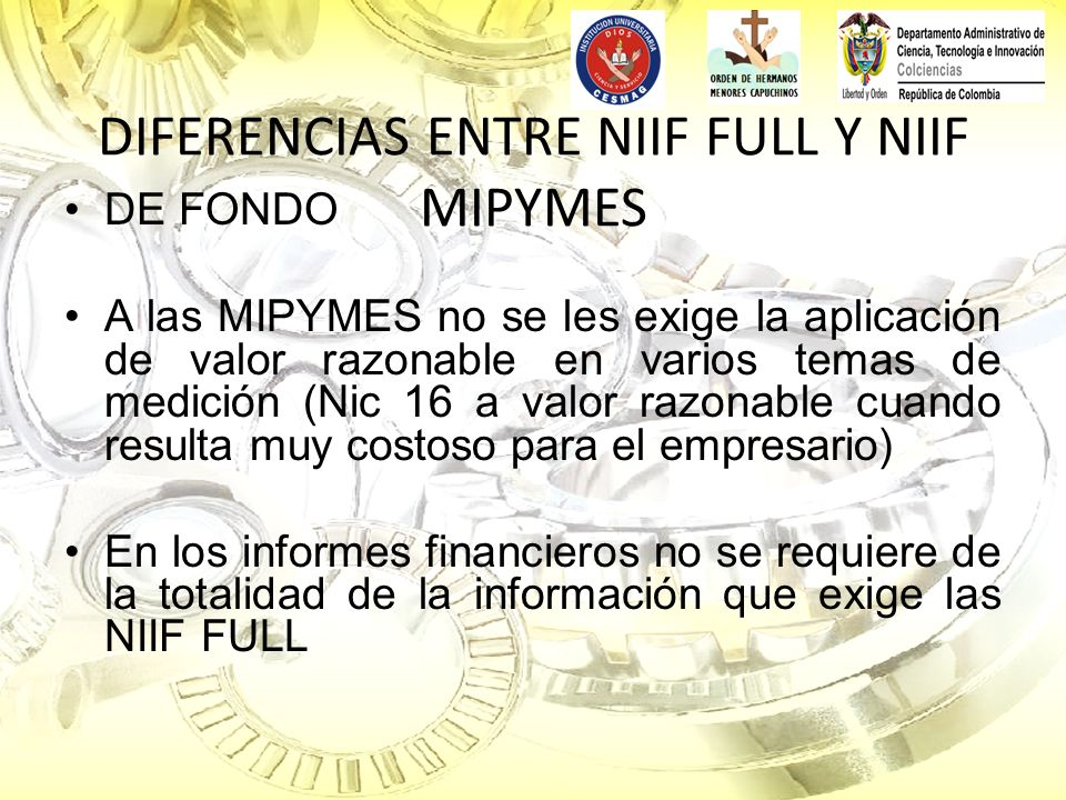 DIFERENCIAS ENTRE NIIF FULL Y NIIF MIPYMES