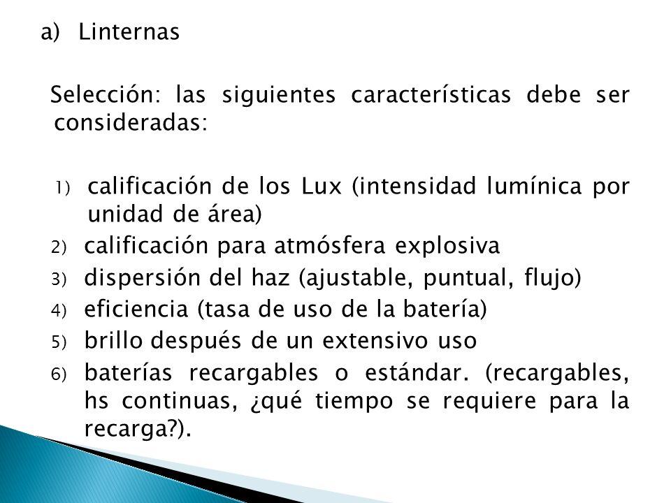 Linternas Selección: las siguientes características debe ser consideradas: calificación de los Lux (intensidad lumínica por unidad de área)