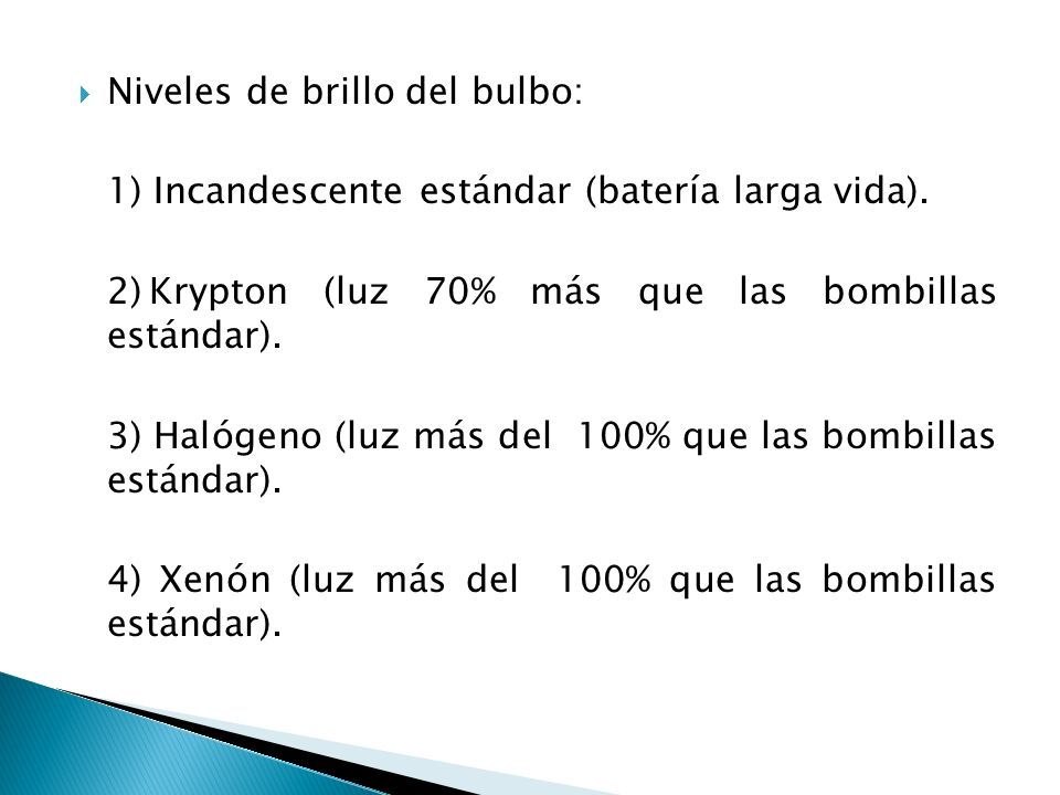 Niveles de brillo del bulbo: